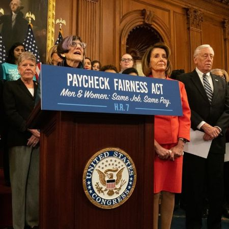 Nancy being Proud to join Congresswoman Rosa DeLauro in reintroducing the #PaycheckFairness, source Instagram