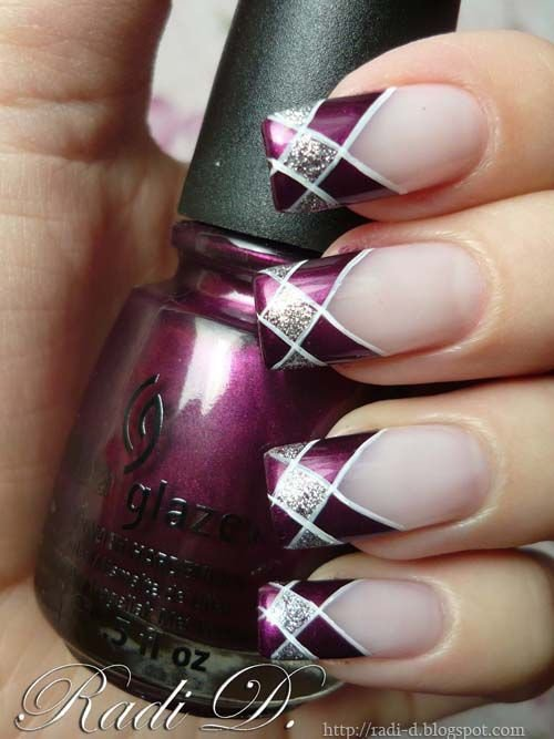 Purple Glitter Gel Tips Nail Art With White Lines Design