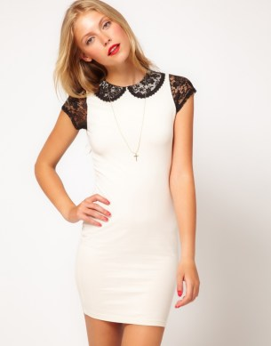 ASOS     Mini Body Conscious Dress with Lace Sleeve and Collar   9    ASOS     Mini Body Conscious Dress with Lace Sleeve and Collar