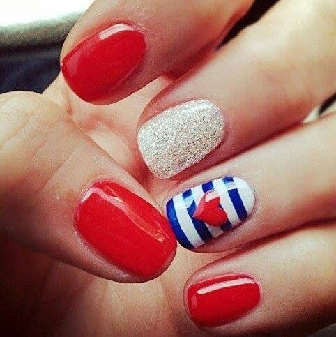 Red White And Blue Nail Art Designs