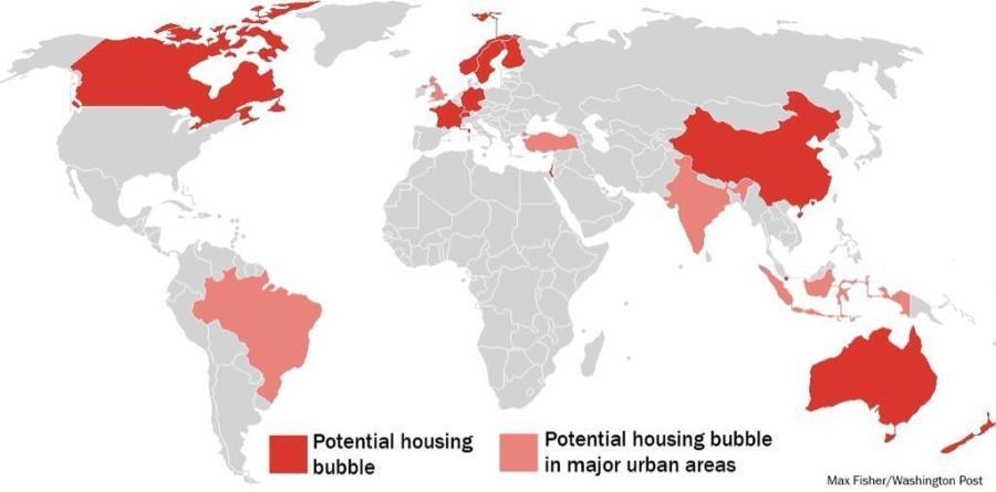 Αυξημένες πιθανότητες δημιουργίας μιας φούσκας ακινήτων ανά τον κόσμο (κόκκινο χρώμα). (*Πατήστε στην εικόνα για μεγέθυνση)