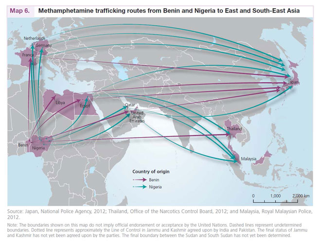 Μεθαμφεταμίνη - η επέκτασή της σε μερικές από τις χώρες του κόσμου