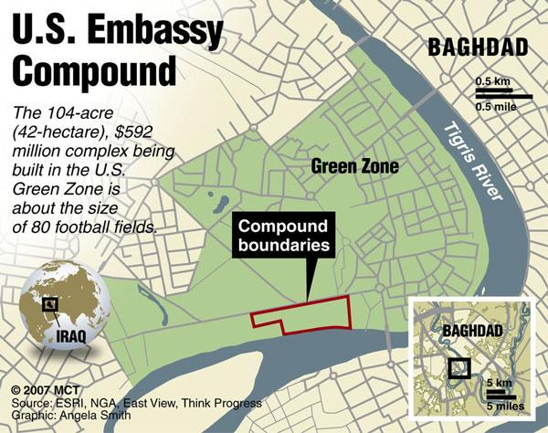 Η πράσινη ζώνη και η πρεσβεία των ΗΠΑ στη Βαγδάτη