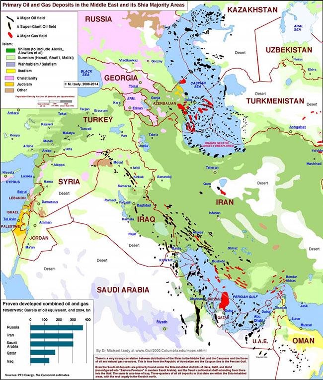 Μ. Ανατολή - πηγές πετρελαίου και φυσικού αερίου και οι επικρατέστερες θρησκείες-κινήματα στη περιοχή