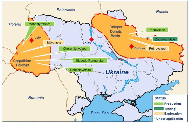 Ουκρανία - περοχές με φυσικά κοιτάσματα