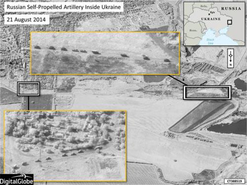 Ουκρανία - δορυφορική εικόνα που σύμφωνα με το ΝΑΤΟ φανερώνει ρωσικές στρατιωτικές δυνάμεις να κινούνται σε σχηματισμό φάλαγγας