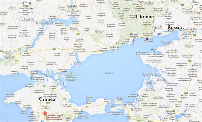 Χάρτης – η στρατηγική θέση της Μαριούπολης.