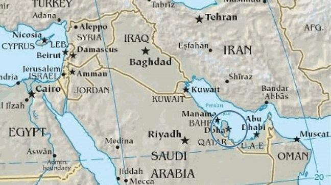 Χάρτης – η τοποθεσία και το μέγεθος του Κατάρ.