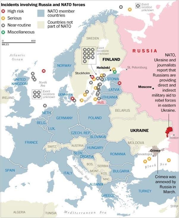 Ρωσία, ΝΑΤΟ – καταγεγραμμένα επεισόδια μεταξύ των δυνάμεων του ΝΑΤΟ και της Ρωσίας.