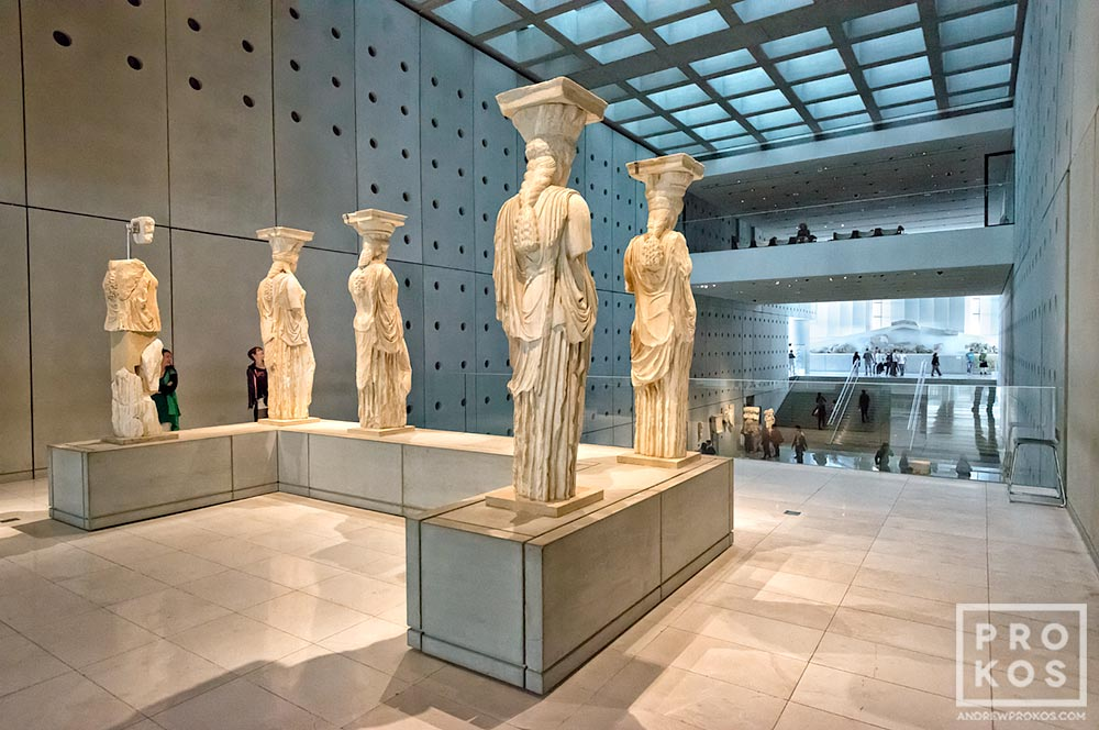 Acropolis Museum Interior with Caryatids  Athens   Fine Art Photo by     Acropolis Museum Interior with Caryatids  Athens