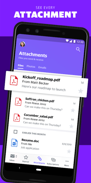 Android Yahoo Mail – Stay Organised Screen 9