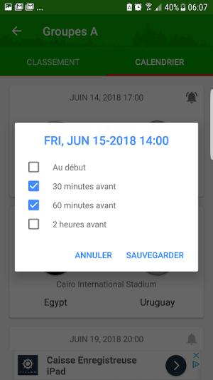 Android Coupe du monde 2018  Alerte Résultats Calendrier Screen 2