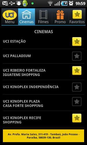 Android UCI CINEMAS BRASIL Screen 1