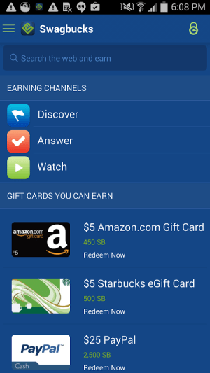 Swagbucks 1.3.3 Screen 1