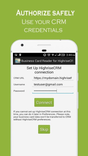 Business Card Reader for Highrise CRM 1.1.145c Screen 18