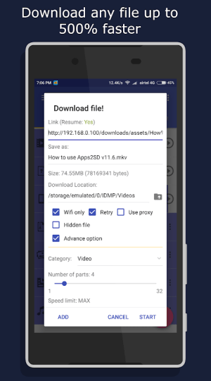 Android IDM+: Fastest Music, Video, Torrent Downloader Screen 9