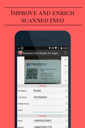 Android Business Card Reader for Sugar CRM Screen 13
