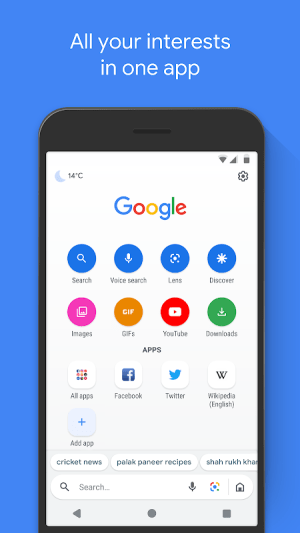 Google Go: A lighter, faster way to search 2.12.278834922.release.go Screen 2