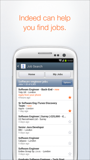 Android Indeed Job Search Screen 1