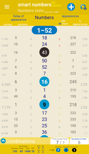 smart numbers for Lotto(South African) 1.627c Screen 4