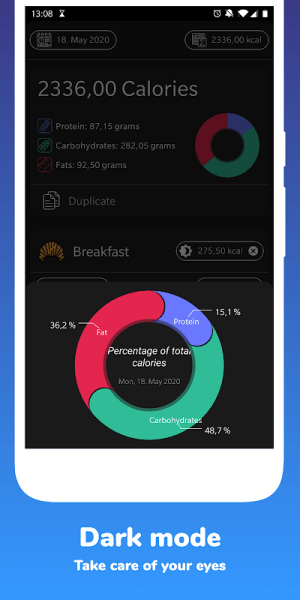 Dark Mode Simple Calorie and Weight Tracker 1.1.4 Screen 5