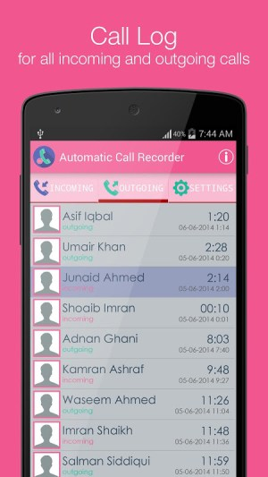 Android Smart Auto Call Recorder Screen 1