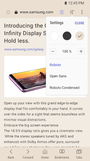 Samsung Internet Browser 9.0.01.4 Screen 5