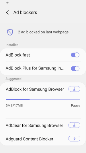 Samsung Internet Browser 11.1.2.2 Screen 1