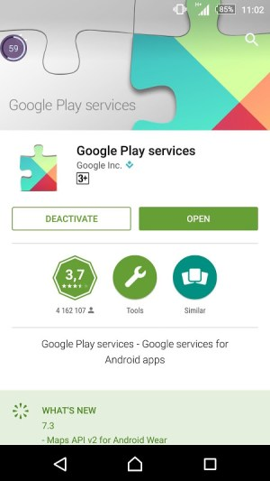 Android Services Update Screen 1