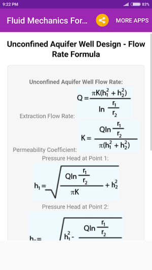 Android Fluid Mechanics Formulas Screen 4