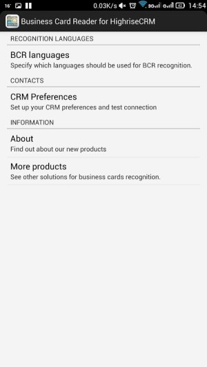 Android Business Card Reader for Highrise CRM Screen 6