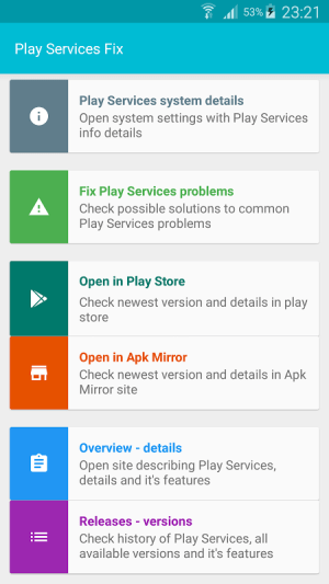 Android Play Services Fix Info Screen 2