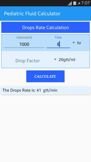 Android Pediatric Fluid Calculator Screen 5