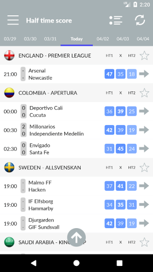 Soccer Predictions 2.2.3 Screen 5