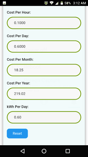 Electricity Cost Calculator 6.0 Screen 5