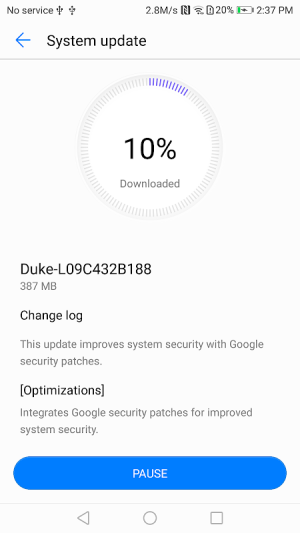 Android System update Screen 2