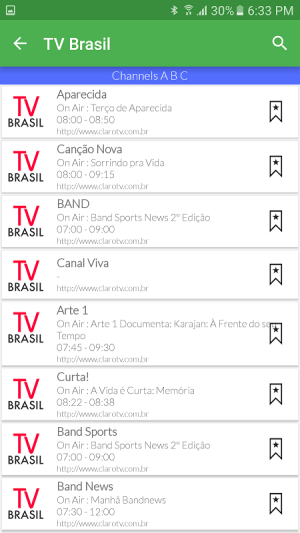 Android Brazil Live TV Guide Screen 3