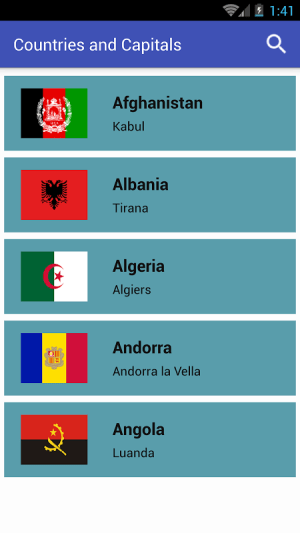 Countries and Capitals 2.2 Screen 1