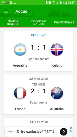 Android Coupe du monde 2018  Alerte Résultats Calendrier Screen 6