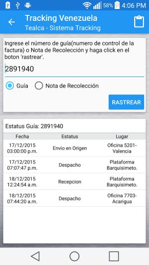 Android Tracking Venezuela Screen 4