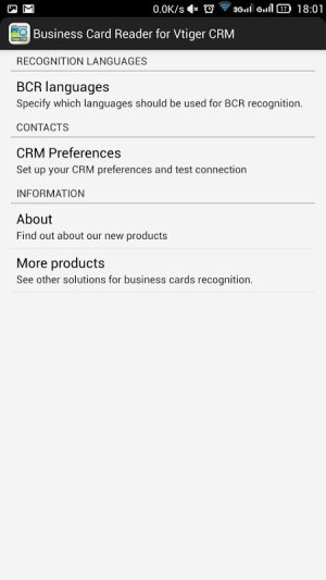 Android Business Card Reader for Vtiger CRM Screen 6