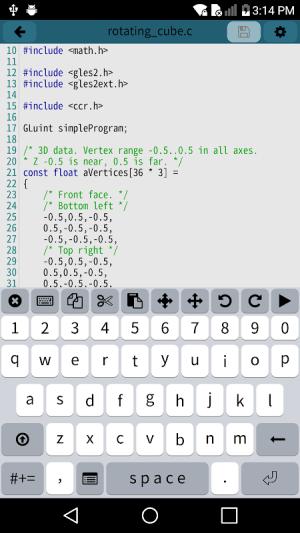 Mobile C [ C/C++ Compiler ] 2.5.1 Screen 1
