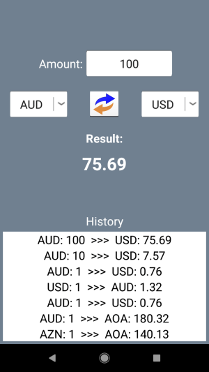 Currency Converter. Exchange rates and calculator 1.2.4c Screen 2