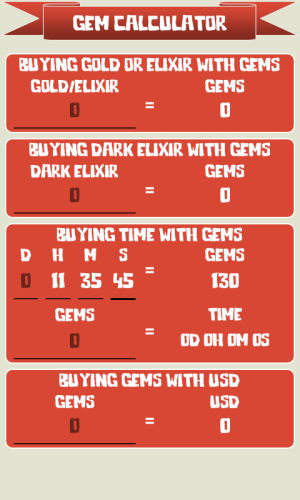 Android 🏰 Gem Calculator for Clash of Clans Screen 3