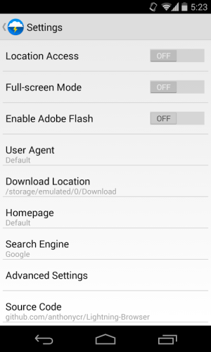 Lightning Browser + 4.0.1a Screen 9
