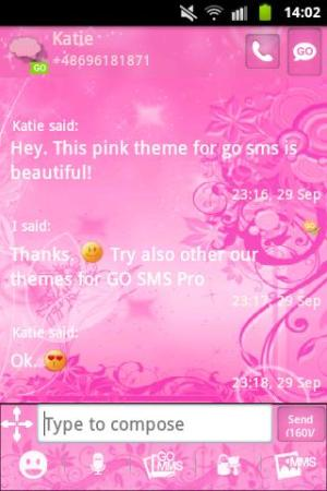 Android GO SMS Pro Theme Pink Flowers Screen 2