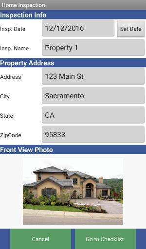 Home Inspection Checklist 3.1 Screen 1