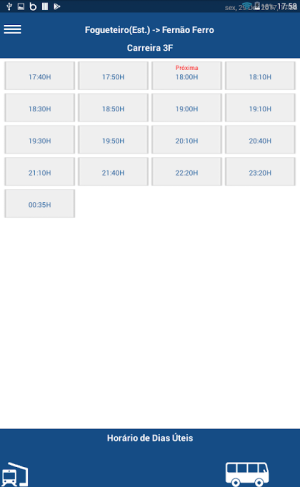 Android SulFertagus TimeTable Screen 1