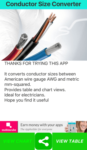 Conductor Size Converter 5.0.0 Screen 2