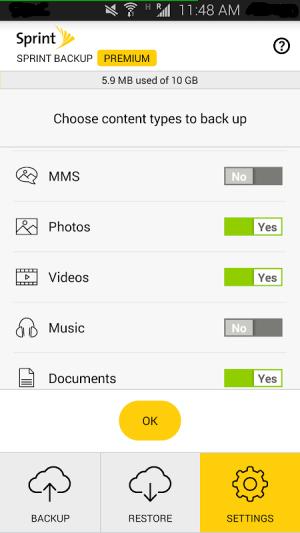 Sprint Backup 1.0.482 Screen 2